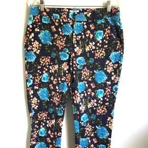 Merona Floral Cropped Pants 12 Stretch